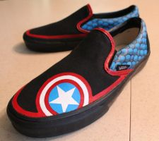 Captain America shoes by pyschogecko