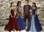 Korra, Mako and their daughters in Tudor style by bowprincess