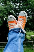 orange chucks by saliyalein