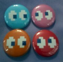 Pacman Ghost Button Set by cosplay-kitty