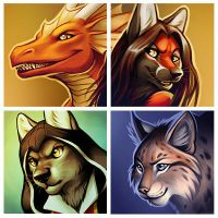 Icons - Daloon, Raitsh, Kuro, Tchitcherine by Nimrais