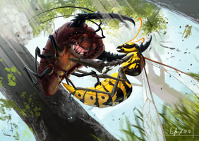 Pokemon - Beedrill VS Pinsir by SimonGangl