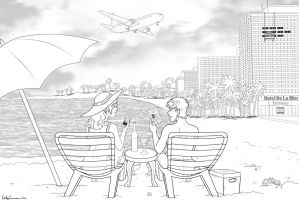 CopyTele Commission Lineart - Couple at a Resort by EmilyCammisa