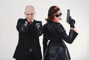 Cate Archer and Hitman cosplay by MonoAbel