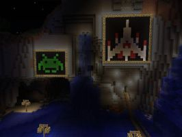 Space Invaders and Galaga Minecraft Art by legomaniac525