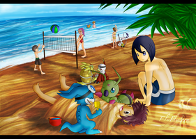 Digimon_Beach Time by ElyFlycorn