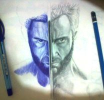 still work in progress..ballpoint pen vs pencil.. by cLoELaLi11