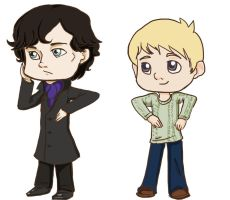 Pocket Sherlock and Watson by Sugarling