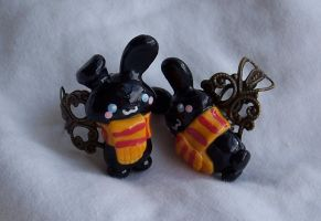 Polymer Clay Bunny Rings by SeaOfCreations