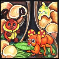 PokeFable: Paras and Kricketot by lemurkat