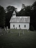 Mountain Church and Graveyard by omniferous