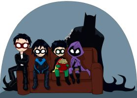 Four Robins and a Batdad by Yanguchitzure