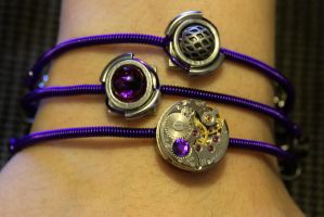 Purple CyberSteam Clockpunk Bracelet by CatherinetteRings