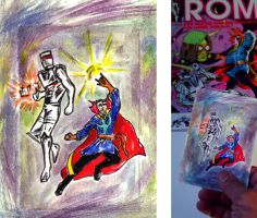 ROM spaceknight   Dr. Strange team up sketch card by csuhsux