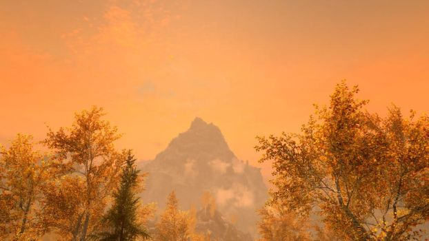 Skyrim SE: A lovely sunset by Amnesiaofdarkness