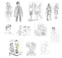 Good Omens Sketchdump by Kaytara