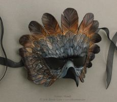 Winter Woods - Leather Hawk Mask by windfalcon