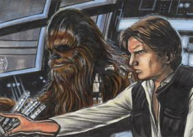 HAN SOLO AND CHEWBACCA SKETCH CARD by AHochrein2010