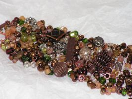 Copper Circles - Hand Knitted Wire Bracelet by nightowl2704