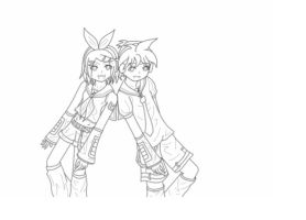 Rin and Len WIP by MonochromaticFox