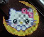 Hello Kitty Moon Perler by ZombieLolitaPrincess