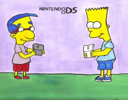 Bart and Milhouse playing DS by DJgames