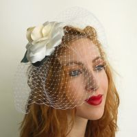 Bridal Gardenia with Veil by tracyholcomb