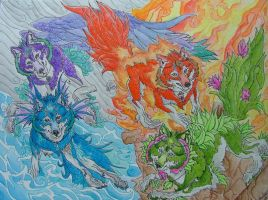 Elemental Guardians by LabradoriteWolf