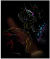 Dauber fighting for Mamabot by 1ForSorrow2ForJoy