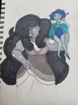 snowflake obsodian and night blue pearl by krivas32