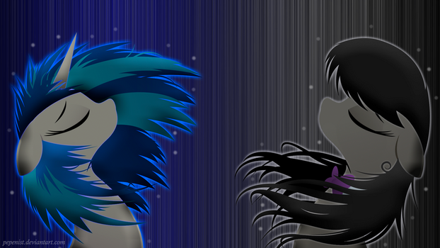 Octavia and Vinyl Wallpaper by Pepenist