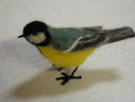 Felted great tit by Amadare90