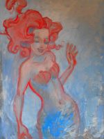 Blue and Red Acrylic Mermaid by kayananas