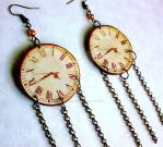 Clockwork Long Chain Earrings by Eibhlin-san