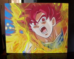 SSJGod Goku Oil Painting by ILoveTrunks