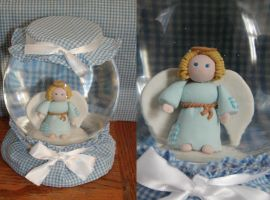 snowglobe blue plaid angel by ayarel
