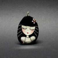Hand painted Doll Pendant by 1anina