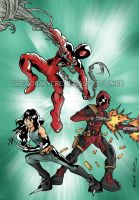 Scarlet-Spider, X-23 and Deadpool by BrenoRanyere
