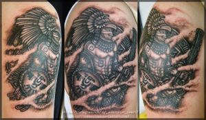 Aztec Eagle Warrior Tattoo, soldier of the Sun. by vonSchloss
