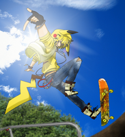 .::Personification::. Pikachu, skater boy by Emy-san