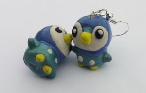 Piplup Earrings by naga-kkw87