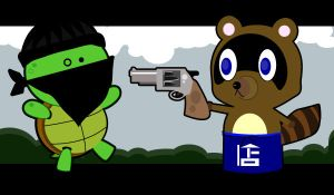Tom Nook Captures A Thief by Sir-Heartsalot