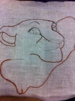 Embroidery WIP Lioness by dyb