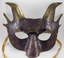 Purple and Gold Half Dragon Mask by LucyLovesLeather