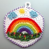Crochet Rainbow Pot Holder by meekssandygirl