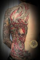 bloody red skull halfback by 2Face-Tattoo
