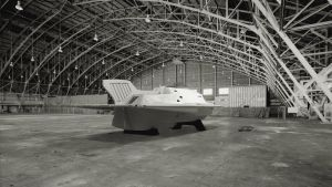 Proteus submarine in hangar - rear view, starboard by janitor35