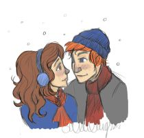 Ron and Hermione by sawebee