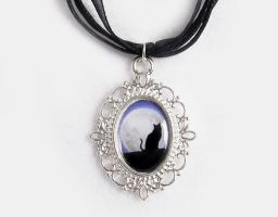 Cat by the Moon Cameo Necklace by DeadLulu