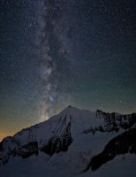 Weisshorn and Milky Way by Arafinwearcamenel